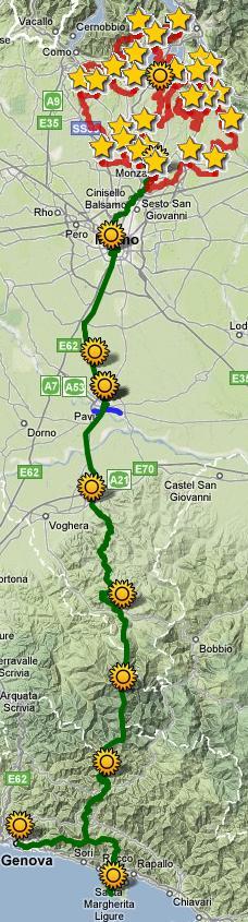 Il percorso del Cammino fino a Genova