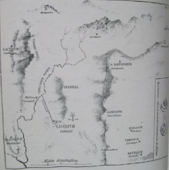 Mappa con l'indicazione dei luoghi più importanti di Cassiacum